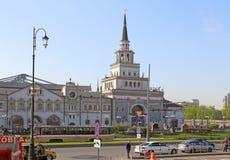 喀山火车站的大厦在莫斯科 免版税库存图片