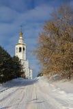 喀山,俄罗斯, 2017年2月9日, Zilant修道院-最旧的正统大厦在城市-冬天俄国人风景 库存图片