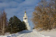 喀山,俄罗斯, 2017年2月9日, Zilant修道院-最旧的正统大厦在城市-冬天俄国人风景 免版税库存图片