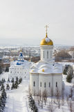 喀山,俄罗斯, 2017年2月9日, Zilant修道院-最旧的正统大厦-典型的俄国风景 库存照片