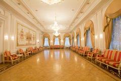 喀山,俄罗斯- 2017年1月16日,香港大会堂-豪华和美好的旅游地方-古色古香的内部 库存照片