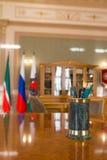 喀山,俄罗斯- 2017年1月16日,香港大会堂-豪华和美好的旅游地方-市长` s办公室-文字 库存照片