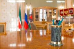 喀山,俄罗斯- 2017年1月16日,香港大会堂-豪华和美好的旅游地方-市长` s办公室-文字 免版税库存图片