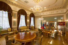 喀山,俄罗斯- 2017年1月16日,香港大会堂-豪华和美好的旅游地方-市长` s办公室 免版税库存照片