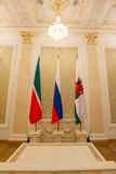 喀山,俄罗斯- 2017年1月16日,香港大会堂-豪华和美好的旅游地方-旗子,鞑靼斯坦共和国镇,关闭 库存照片