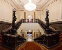 喀山,俄罗斯- 2017年1月16日,香港大会堂-豪华和美好的旅游地方-楼梯间 库存图片