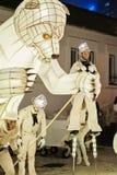 喀山,鞑靼斯坦共和国/俄罗斯- 12 29 2017年:` Remue家务`娱乐节目 法国马戏团在马戏、舞蹈和音乐运作 图库摄影
