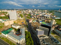 喀山 城市的鸟瞰图中心圆山大饭店的 免版税库存图片