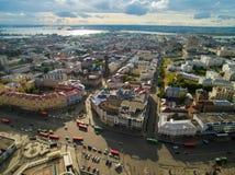 喀山 城市的鸟瞰图中心圆山大饭店的 免版税图库摄影