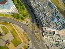 喀山 城市的鸟瞰图中心圆山大饭店的 库存照片