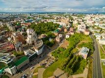 喀山 城市的鸟瞰图中心圆山大饭店的 免版税库存照片
