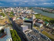 喀山 城市的鸟瞰图中心圆山大饭店的 图库摄影