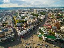 喀山 城市的鸟瞰图中心圆山大饭店的 库存图片