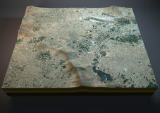 喀布尔地图,卫星看法,部分3d,阿富汗,城市 免版税图库摄影