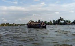 喀拉拉死水居住船 图库摄影