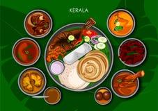 喀拉拉的传统Keralite烹调和食物膳食thali 皇族释放例证