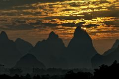 喀斯特地形美丽的山  库存图片