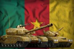 喀麦隆坦克在国旗背景的力量概念 3d例证 向量例证