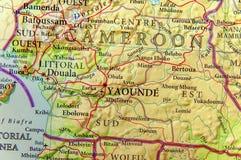 喀麦隆的地理地图有重要城市的 免版税图库摄影
