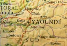 喀麦隆的地理地图有首都的雅温得 免版税库存图片