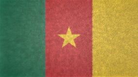 喀麦隆的旗子的原始的3D图象 皇族释放例证