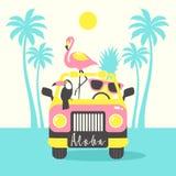 喂与toucan的夏天海报,火鸟,鹦鹉,在汽车的菠萝 能为海报,贺卡,袋子, T恤杉使用 库存例证