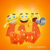 喂党与黄色emoji面带笑容的横幅模板面对字符 图库摄影