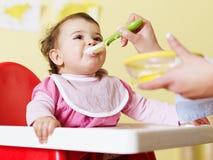 喂养她的母亲的婴孩 免版税库存照片