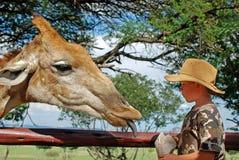 喂小孩长颈鹿 库存图片