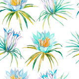 喂无缝夏威夷的模式 开花热带 免版税库存图片