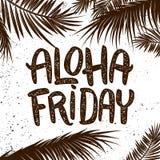 喂星期五 在难看的东西背景的手拉的在上写字的词组与棕榈叶 设计海报的, T恤杉,卡片元素 向量例证