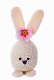 喂白色手工制造复活节兔子 库存照片