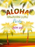喂,夏威夷党模板邀请 免版税图库摄影