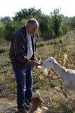 喂养山羊的人 免版税图库摄影
