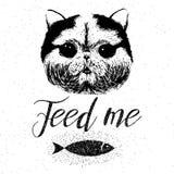 喂养我,与逗人喜爱,友好,微笑的猫的传染媒介手拉的印刷海报 免版税图库摄影