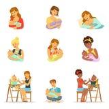 色妈妈和爸爸_喂养他们的婴孩的妈妈和爸爸设置为标签设计 五颜六色的漫画人物 库存