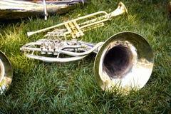 喇叭乐队的几音乐管乐器 库存照片