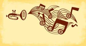 喇叭演奏音乐 背景上水平的节疤松木纹理 免版税库存图片