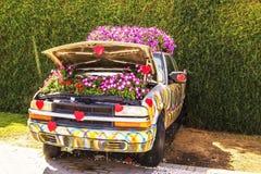 喇叭花床在一辆汽车的有一个开放敞篷的在奇迹庭院里在迪拜 免版税库存照片