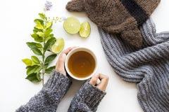 喉咙痛的草本健康饮料蜂蜜柠檬茶 库存照片