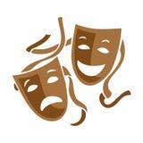 喜剧和悲剧剧院面具例证 库存图片
