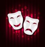 喜剧和悲剧剧院面具 库存例证
