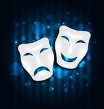 喜剧和悲剧在蓝色闪烁背景的剧院面具 皇族释放例证