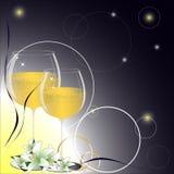 喜帖、圆环和香槟的背景 免版税图库摄影
