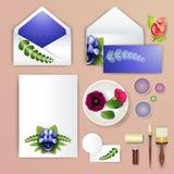 喜帖或邀请有抽象花卉背景婚姻的机构的 与滤网花的高雅样式 花卉illustra 库存照片