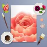 喜帖或邀请有抽象花卉背景婚姻的机构的 与滤网花的高雅样式 花卉illustra 免版税库存照片