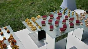 喜庆自助餐、派对和婚礼上供应各种鱼肉开胃菜 股票视频