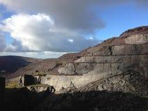 喜怒无常的北部威尔士板岩采石场 库存图片