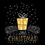 喜悦圣诞节时髦设计贺卡 假日与手写的字法的冬天模板 免版税库存图片