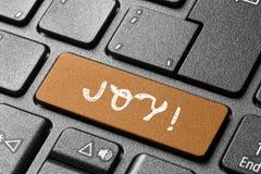 喜悦按钮个人计算机键盘网 库存照片